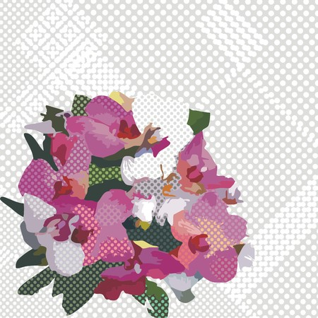 postcard with flowers which consist of circles.  Illustration