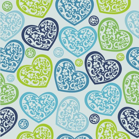 texture of colorful hearts on blue background Vector