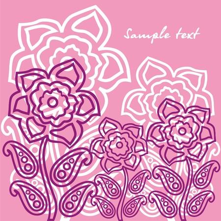 Violet flowers on pink background