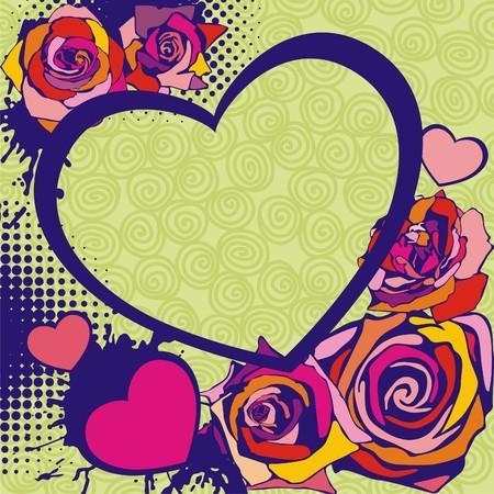 marco cumplea�os: tarjeta postal con bellas flores sobre fondo verde. Ilustraci�n