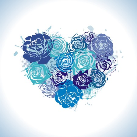 corazones azules: coraz�n constan de rosas azules. Ilustraci�n Vectores
