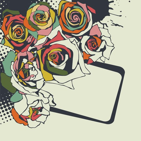 postcard with beautiful flowers on beige background. illustration