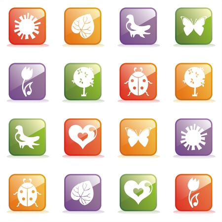 Glossy Icons for Web on the topic spring. illustration Vector