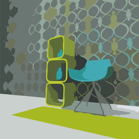 chair stand against the green wall. Vector illustration. Vector
