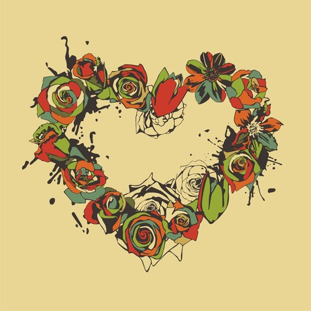 heart consist of colorful flowers on beige background. Vector illustration