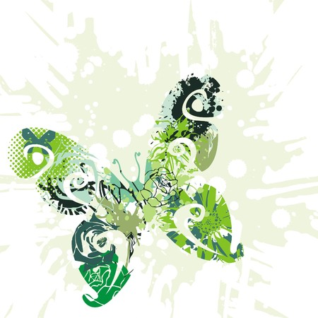 green beautiful butterfly on white background. Vector illustration