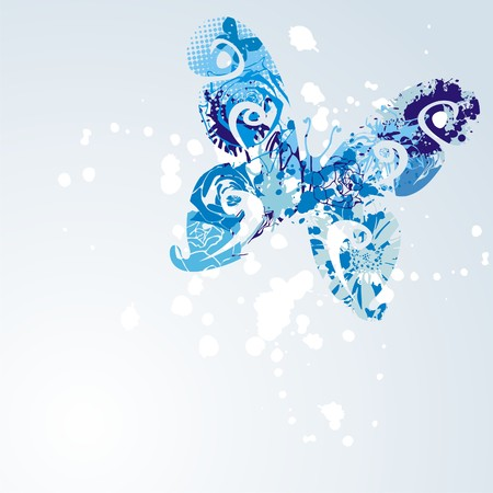blue butterfly on white background. Vector illustration