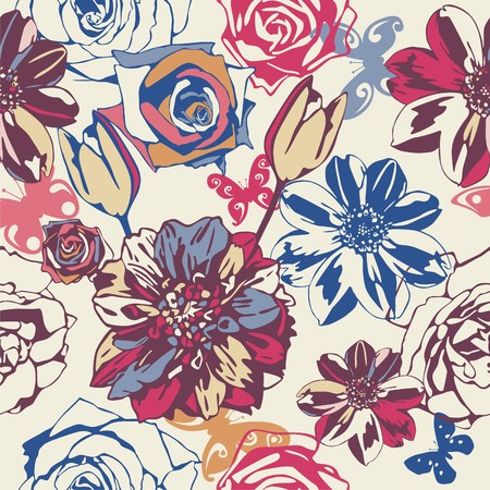 vector texture consist of flowers on beige background. Vector illustration Stock Vector - 8978079