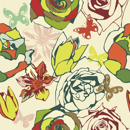vector texture consist of flowers on beige background. Vector illustration Stock Vector - 8978075