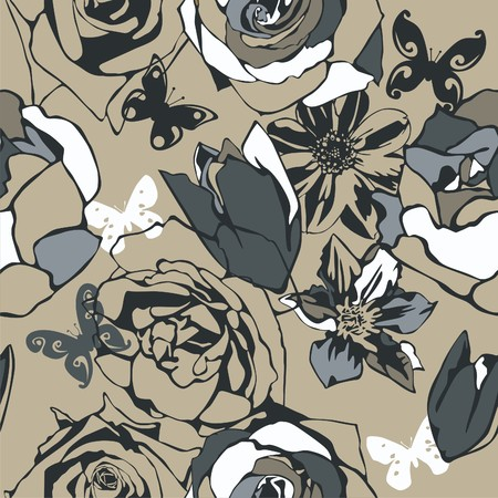 consist: vector texture consist of flowers on beige background. Vector illustration