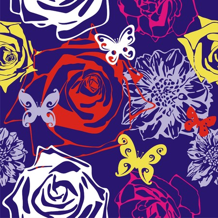 vector texture consist of flowers on violet background. Vector illustration