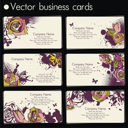 six business cards in floral design on black background. Vector illustration