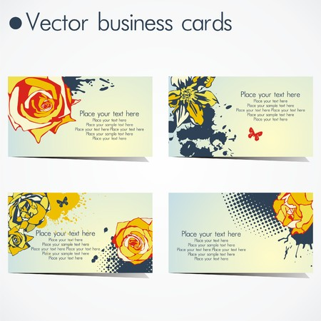 four business cards in floral design on white background. Vector illustration