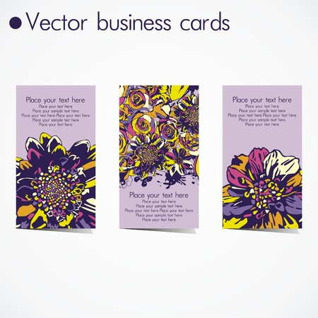three business cards in floral design on white background. Vector illustration