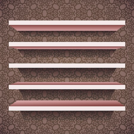 five vector shelves on brown wallpaper background. Vector illustration