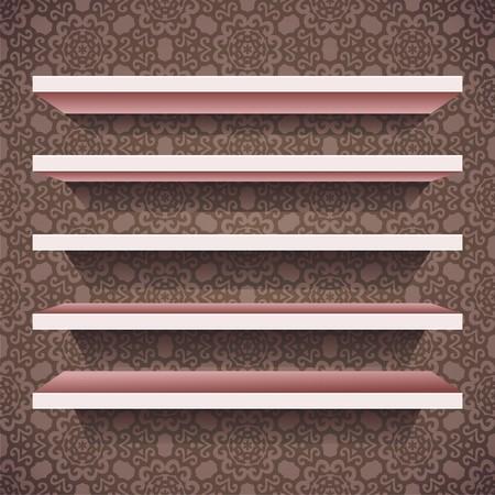 bookshelf digital: five vector shelves on brown wallpaper background. Vector illustration