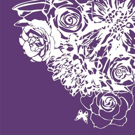 vector postcard with white flowers on violet background. Vector illustration Illustration