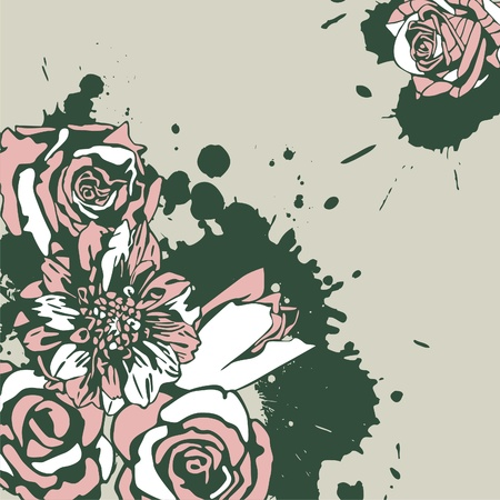 vector postcard with pink flowers on beige background. Vector illustration Vector
