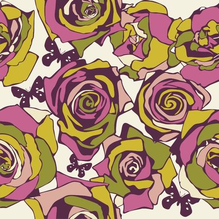 vector texture consist of flowers on beige background. Vector illustration Vector