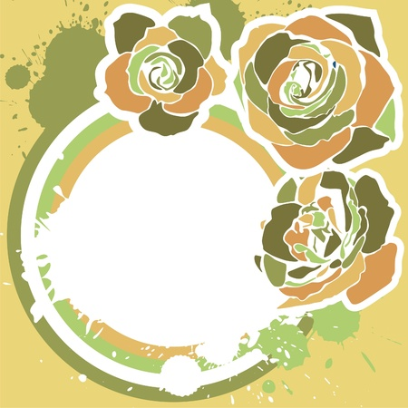 vector postcard with retro flowers on beige background. Vector illustration Vector
