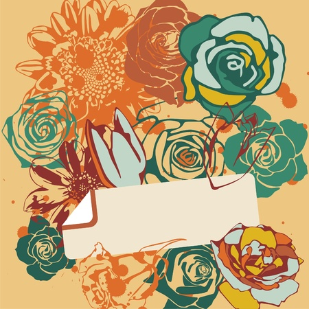 vector postcard with retro flowers on orange background. Vector illustration Vector
