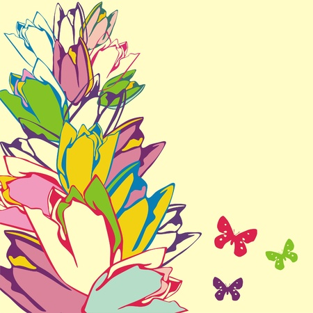 vector postcard with flowers on yellow background. Vector illustration