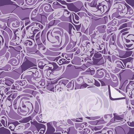vector postcard with ornate flowers on violet background. Vector illustration Vector