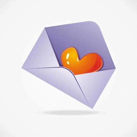 Glossy heart in envelope on white background. Vector illustration Stock Vector - 9388201