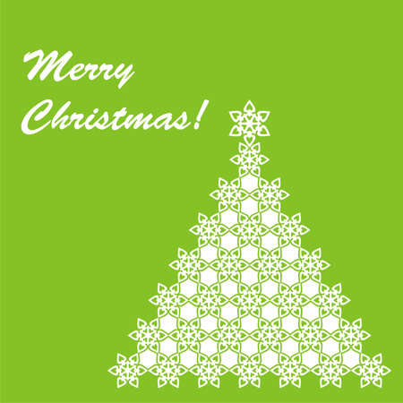 christmas postcard with white christmas tree on green background. Vector illustration Vector
