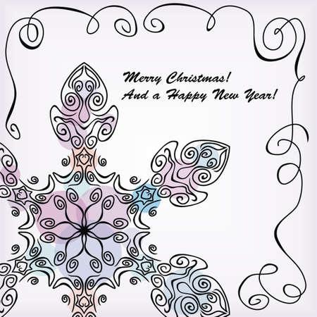 graceful snowflake on white background. Vector illustration