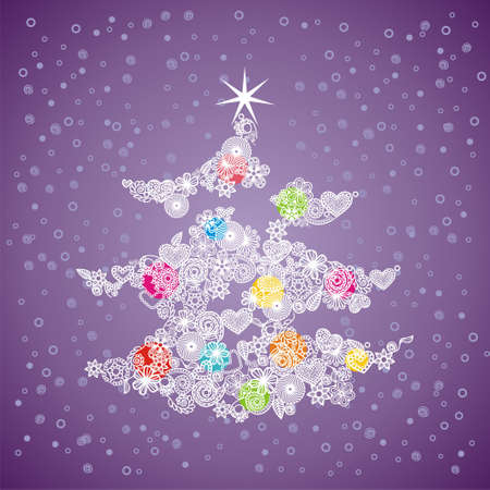 ornament christmas tree on violet background. Vector illustration