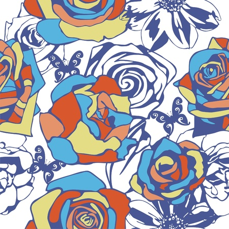 vector texture consist of flowers on white background. Vector illustration