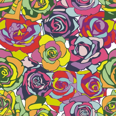 vector seamless texture which consist of colorful flowers. Vector illustration Illustration
