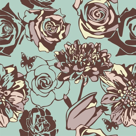 vector texture consist of flowers on blue background. Vector illustration Illustration
