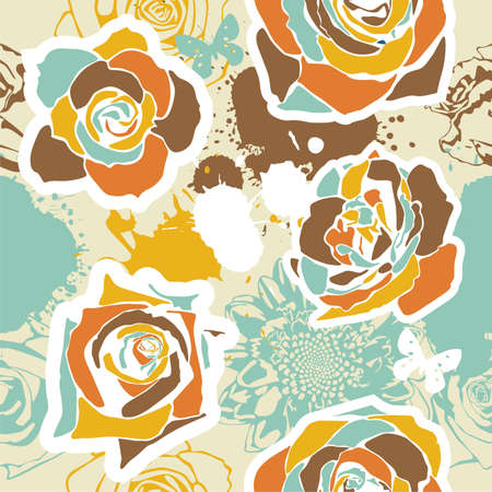 vector texture consist of flowers on beige background. Vector illustration