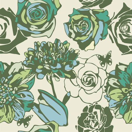 vector texture consist of flowers on yellow background. Vector illustration