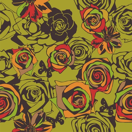 vector texture consist of flowers on green background. Vector illustration