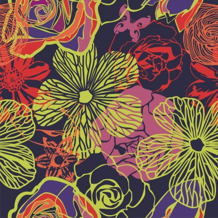 vector texture consist of colorful flowers  Vector illustration Vector