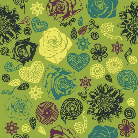 vector texture consist of colorful flowers  Vector illustration