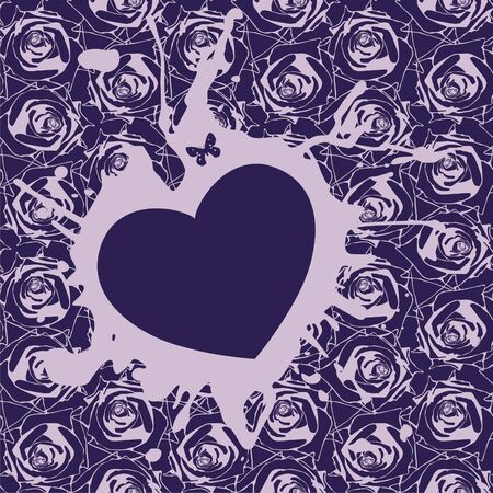 heart on violet background which consist of flowers  Vector illustration Vector
