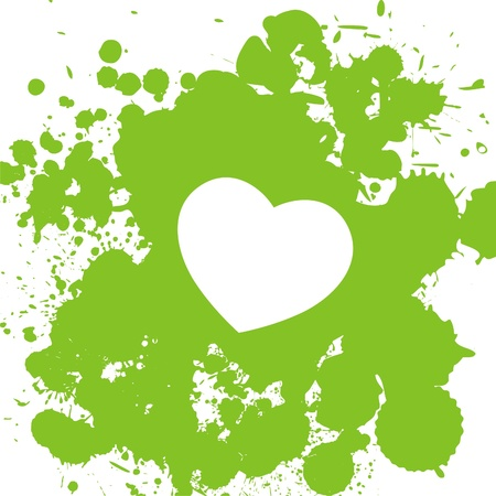 white heart on background which consist of green drops  Vector illustration Vector