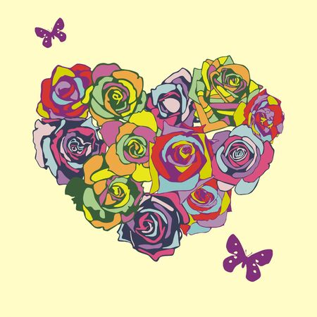 postcard with heart which consist of colorful flowers. Vector illustration Vector