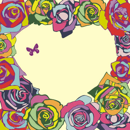 postcard with heart which consist of colorful flowers   Vector