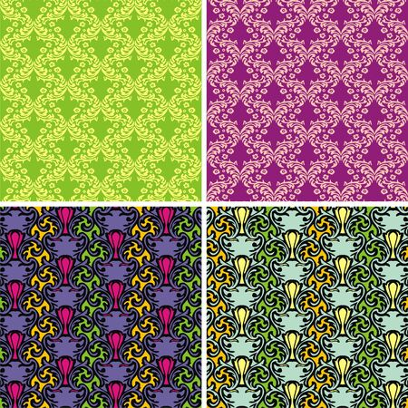 Vector set of floral textures  Vector illustration