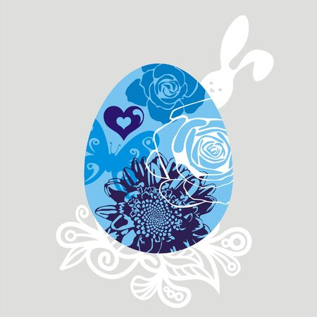 greeting card with egg which consist of flowers. Vector