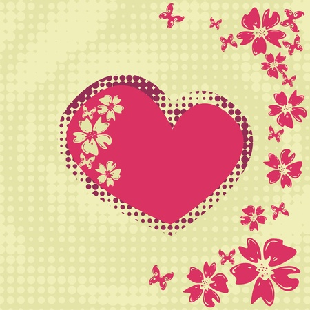 greeting card with heart and flowers Vector