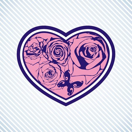 floral heart on blue background
