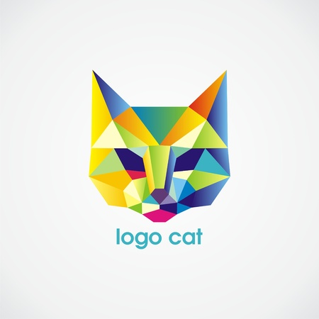 vector logo cat consist of colorful triangles. Vector illustration.