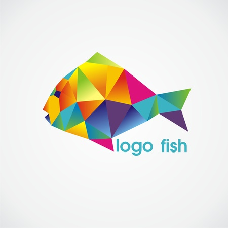 vector logo fish consist of colorful triangles. Vector illustration. Illustration