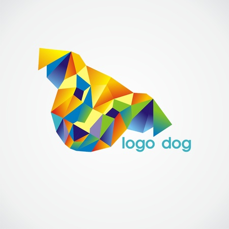 vector logo dog consist of colorful triangles. Vector illustration. Illustration